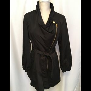 Kenneth Cole Asymmetrical Zip/Belted Jacket